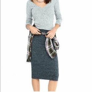 Dark Grey Ruched Knit Pencil Skirt